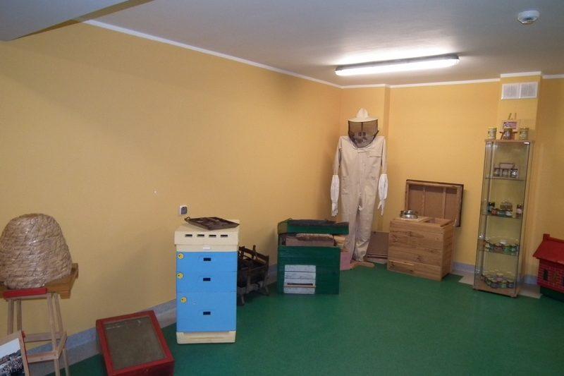 zdjęcie sala muzeum, od lewej stołek z wiklinowym ulem, kaseta na miód, drewniany ul, waga, otwarty ul, kombinezonem pszczelarza, otwarta skrzynia, ekspozytor