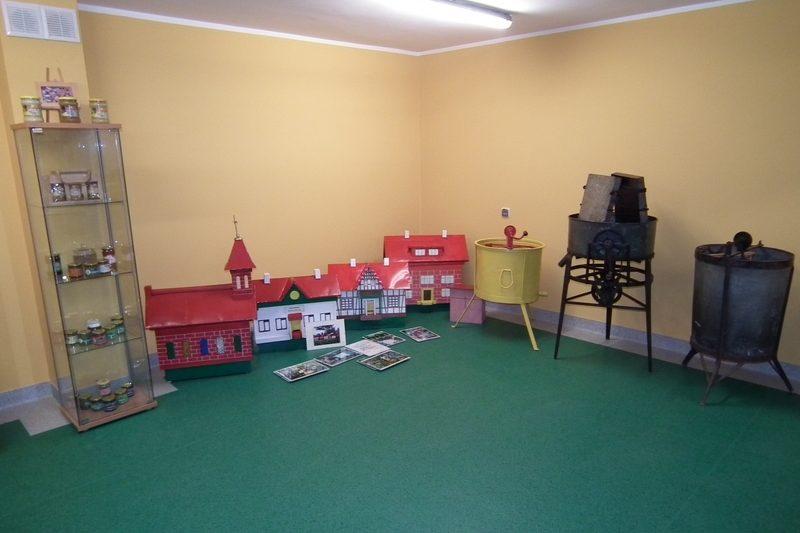 zdjęcie ekspozytor, miniatury budynków, urządzenia pszczelarskie